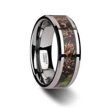 Mens  Camo Tungsten Wedding Ring Tree Green Leaves Camo Beveled Polished Finish - 8mm