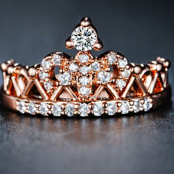 Exquisite 18k Rose Gold Plated CZ Diamond Crown Shaped Ring (New)