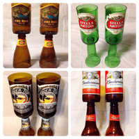 Beer Bottle Wine Glasses. Recycled Glass Bottles.