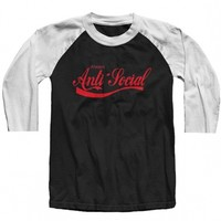"Unisex ""Anti-Social"" Baseball Raglan by The T-Shirt Whore (Black/Red)"