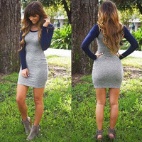 Hot Sale Winter Knit Long Sleeve One Piece Dress [8999049540]