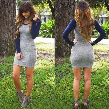 Hot Sale Winter Knit Long Sleeve One Piece Dress [9150492807]