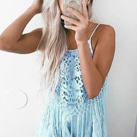 Netted Tassel Romper - Baby Blue - FINAL SALE