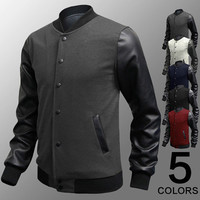 Contrast PU Leather Sleeve Varsity Jacket