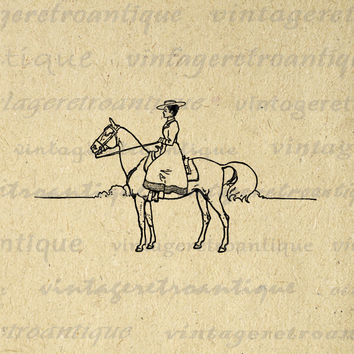 Western Woman Horse Rider Graphic Printable Image Cowgirl Download Digital Vintage Clip Art for Transfers etc HQ 300dpi No.1617