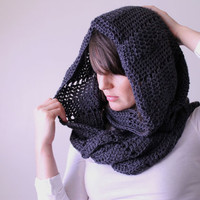 Oversized Crocheted Cowl Snood in Charcoal Grey - Chevron Stitch