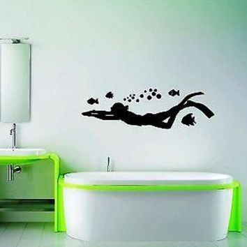 Wall Stickers Vinyl Decal For Bathroom Diving Diver Ocean Marine Unique Gift ig1383