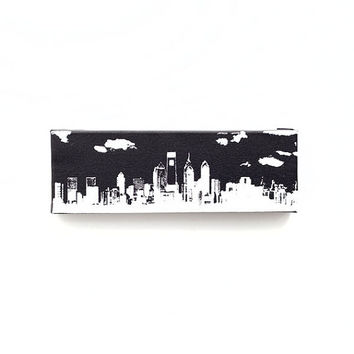 Philadelphia Skyline II Canvas (Black w/ White) Screenprint/Painting, Philadelphia Wall Art, Black and White Home Decor, Philadelphia Print