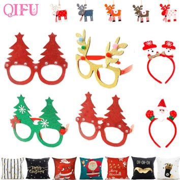 QIFU Merry Christmas Ornaments Christmas items Party Glasses Frame Decoration Christmas Diy New Year 2019 Xmas Decoration
