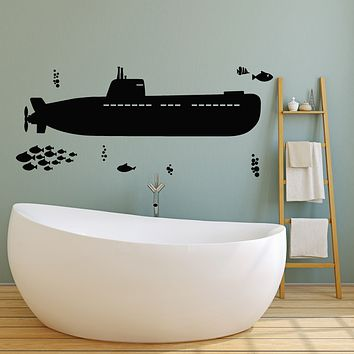 Vinyl Wall Decal Submarine Sea Ship Style Undersea Fishes Stickers Mural (g2696)