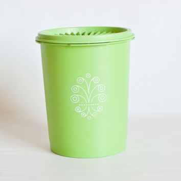 Vintage Small Apple Green Tupperware Kitchen Canister, Lime Green Tupperware Replacement Canister, Tea Coffee Container