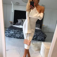 Lotus Elegant White Midi Dress