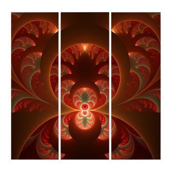 Luminous abstract modern orange red Fractal Triptych