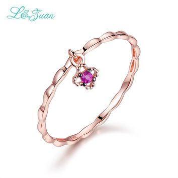 I&zuan 100% 14K Rose Gold Natural Ruby Flower Wedding Ring Trendy Simple Pendant Ring Real Stone Fine Jewelry for Woman Gift