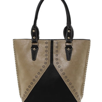 Two Tone Laser Cut Tote in Black - Default