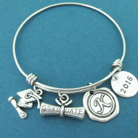 Personalized, Letter, Initial, 2016, GRADUATE, Graduation cap, Silver, Bangle, Bracelet, Diploma, Mortarboard, Gift, Jewelry