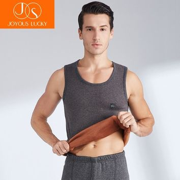 JOYOUS LUCKY Warm Vest Men Winter Plus Velvet Cotton Thick Tight Sports Bottoming Round Neck Men's Double Sleeveless Vest