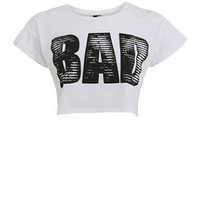 Influence White Bad Crop T-Shirt