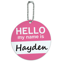 Hayden Hello My Name Is Round ID Card Luggage Tag