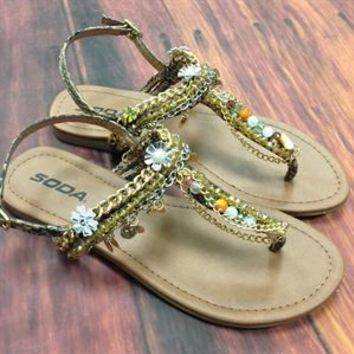 Soda Shoes Faux Snakeskin Embellished Gladiator Sandals TWINKLE-S-TAN