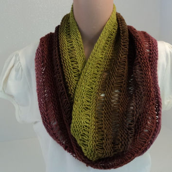 Handcrafted Cowl Wrap Rose Green Brown Drop Stitch 100% Wool Female Striped -- New No Tags