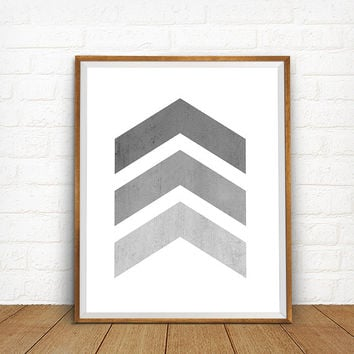Gray chevron arrows art print, Gray wall art, Bedroom decor, Gray decor, Geometric print, Modern Chevron Art, Scandinavian art, Large Size