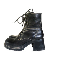 90s Platform Boot Women Lace Up Boot Black Platform Boot Women Boot 10 90s Chunky Heel Boot Block Heel Boot Women Military Boot Combat Boot