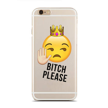 B*tch Please - Funny Quotes Case - Emoji - Emoji Faces - Slim & Transparent case for iPhone - by HeartOnMyFingers - SLIMCASE-291
