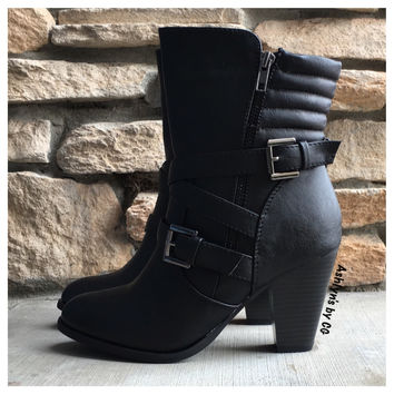 """Style and Flare"" Always Faithful Cross Strap Black Heel Bootie Boots"