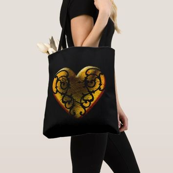 Filigree Goth Gold Heart Tote Bag