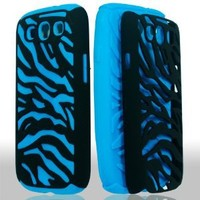 Generic Dual Flex Hard Hybrid Gel Case Cover for Samsung Galaxy S3 i9300 - Retail Packaging - Black/Blue Zebra