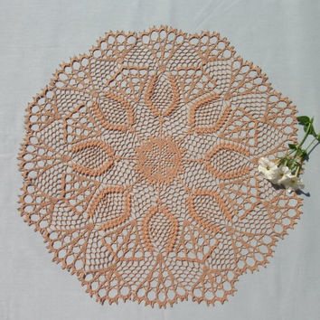 Big lace doily 21,5 inches Crochet round doily Brown lace doily Big crochet doily Round lace doily Crochet table topper Pineapple doily