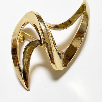 Trifari ZigZag Brooch Mid-Century Modern Gold Tone Vintage - Trifari Signed Lightning Bolt Brooch or Pin