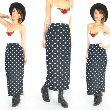 vintage 1980's high waist POLKA DOT lightweight midi pencil SKIRT rockabilly punk indie, extra small-small