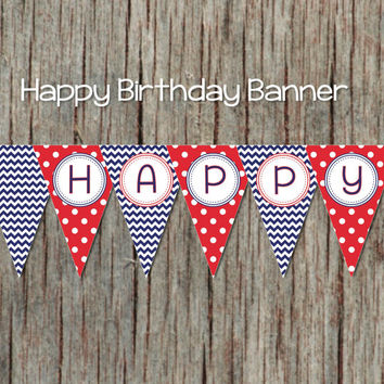 Navy Blue Red Birthday Banner Printable Happy Bunting Digital Decorations INSTANT DOWNLOAD 040