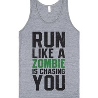 Run Like A Zombie Is Chasing You-Unisex Athletic Grey Tank