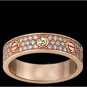 """Cartier"" Popular Women Men Three Rows Of Drill Diamond Ring Stars Couple Ring Accessories Rose Gold"