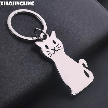XIAOJINGLING Smile Cat Keychian Key Holder Personalized Cartoon Pendant Key Chain Men Women Car Keyring Charm Chaveiro Gift