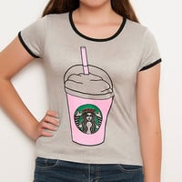 Gray Frappuccino Shirt - Frappuccino - Frap - Gray / Grey Shirt - Ringer Tee - Coffee Shirt - Teen Fashion - Tumblr Shirt - Women's Clothing
