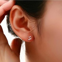 2017 Sale Special Offer Trendy Brincos Earings Fashion Cute Lovely Musical Note Plated Stud Earrings For Women Earring Jewelry