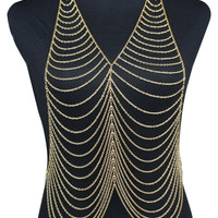 Gold Multi Layer Draped Body Chain