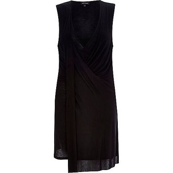 River Island Womens Black drape front sleeveless top
