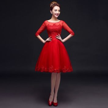 PotN'Patio O-neck Appliques And Beading Knee Length Red Organza Short Bridesmaid Dresses Plus Size 2016