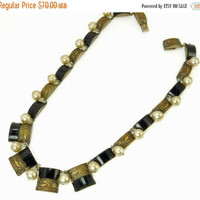 Vintage Czech Art Deco Onyx & Pearl Necklace