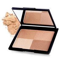 Natural 4 Colours Highlight Bright Shadow Pressed Powder Palette with Mirror