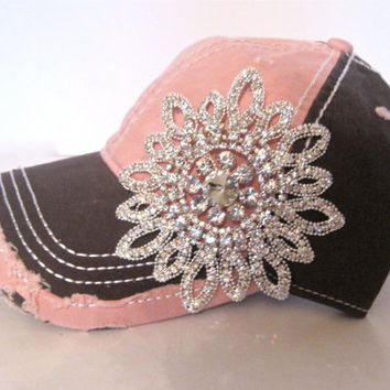 Two Tone Pink and Grey Trucker Baseball Cap Hat with Gorgeous All Rhinestone Flower Accent