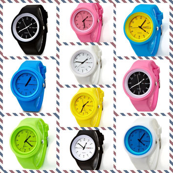 Cute Colourful Round Jelly Silicone Fashion Mix and Match Colour Replaceable Band Watch 12 Color Available