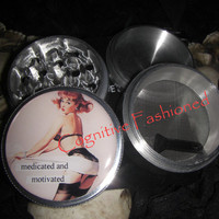 Vintage Reto Pin Up Medicated and Motivated 4 Piece Grinder Herb Spice Aircraft Grade Aluminum C.N.C from Cognitive Fashioned