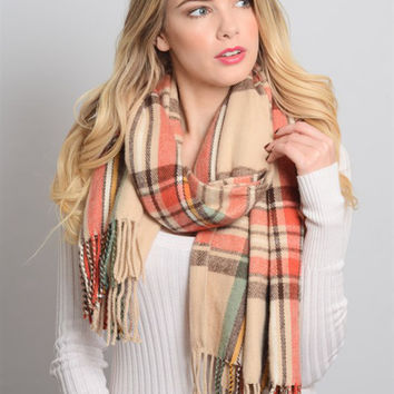 Plaid Tassel Scarf-Cream