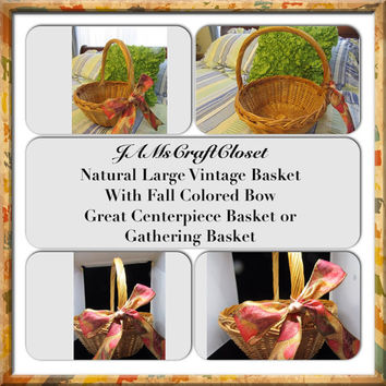 Gathering Basket-Vintage-Natural-Woven-Basket-Home Decor-Centerpiece-Gift-Storage-Cottage Chic-Country Decor-Fall Decor-Holiday-Wedding
